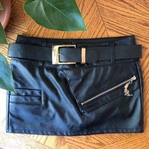 Dresses & Skirts - Belted Vegan Moto Mini Skirt